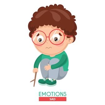 Ilustración de vector de la emoción del niño triste