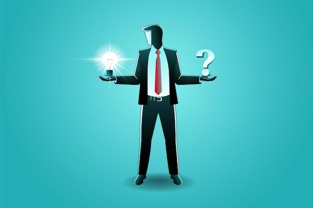 Ilustración de vector de empresario con bombilla y símbolos de signo de pregunta en su mano