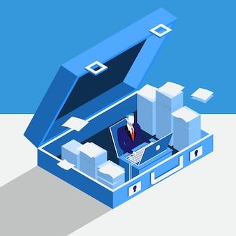 Ilustración de vector de empresario trabajando en la computadora en la oficina privada situada en maletín.