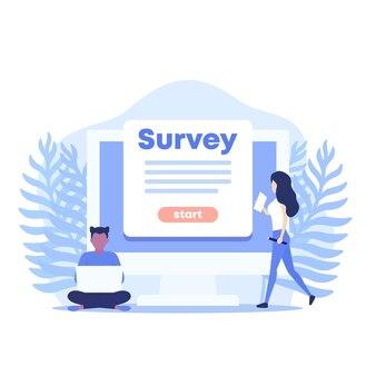 Ilustración de vector de encuesta en línea con mujeres