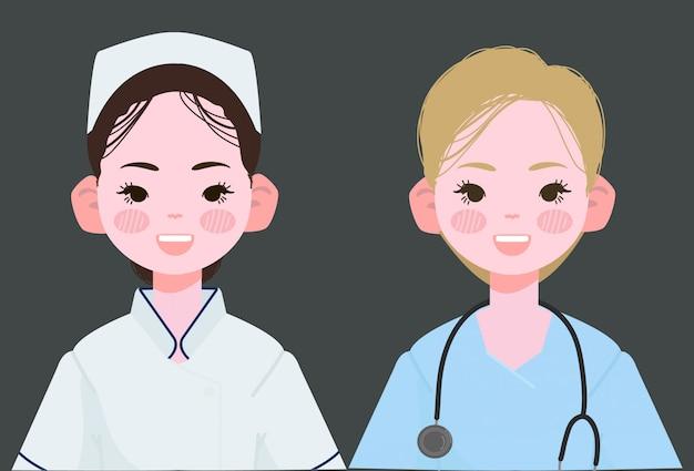 Ilustración de vector de enfermera.