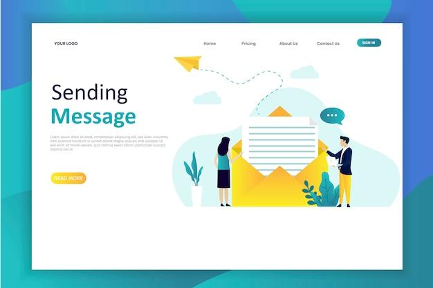 Ilustración de vector de enviar mensaje con correo electrónico
