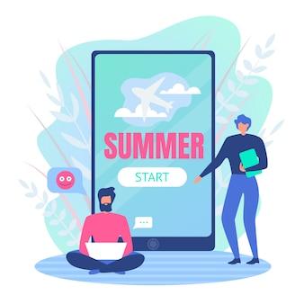 Ilustración de vector es de dibujos animados de verano escrito.