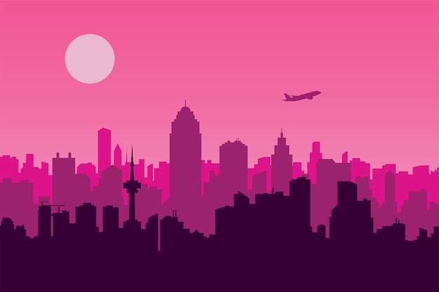 Ilustración de vector de una escena urbana con un fondo rosa, una metrópoli y una silueta de avión