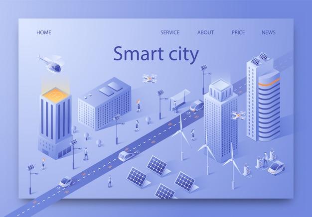 Ilustración de vector escrito smart city isométrica.