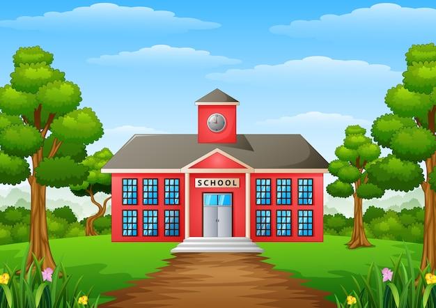 Ilustración de vector de escuela de dibujos animados con patio verde