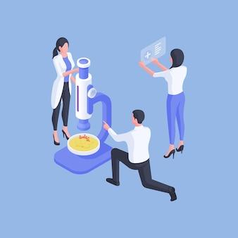 Ilustración de vector de especialistas médicos y trabajadores de servicios de salud que colaboran en la creación de nuevos medicamentos modernos aislados sobre fondo azul