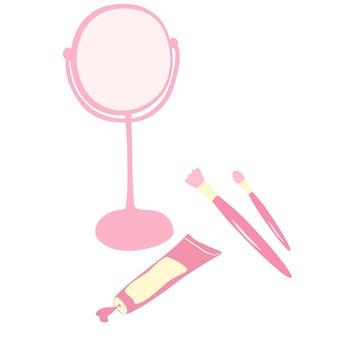 Ilustración de vector de un espejo de mujer de dibujos animados pinceles de maquillaje y elementos de belleza crema