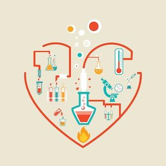 Ilustración de vector de esquema de infografías de química de amor con matraces, tubos de ensayo y vasos de precipitados