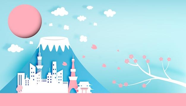 Ilustración de vector de estilo de arte de papel de ciudad de tokio japón