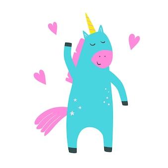 Ilustración de vector de estilo de dibujos animados lindo unicornio con ilustración de vector de unicornio en estilo plano