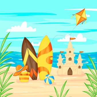 Ilustración del vector en estilo de dibujos animados. paisaje de verano mar y arena.