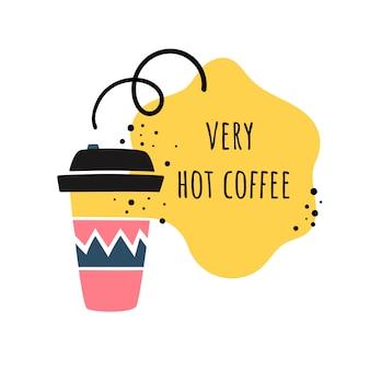 Ilustración de vector en el estilo de doodle. taza de café. café para llevar/