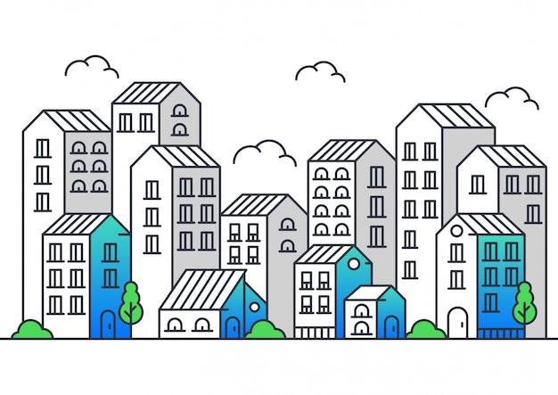 Ilustración de vector de estilo moderno de la línea de la ciudad