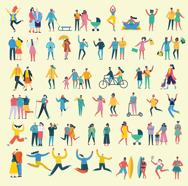 Ilustración de vector de estilo plano de diferentes actividades personas saltando, bailando, caminando, pareja enamorada, haciendo deporte en estilo plano