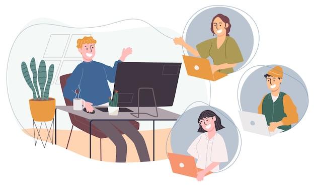 Ilustración de vector de estilo plano del personaje de dibujos animados trabajando desde casa o en cualquier lugar.