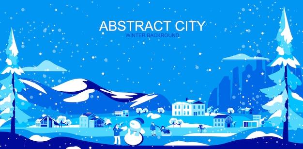 Ilustración de vector en estilo plano simple - paisaje suburbano con casas y personas