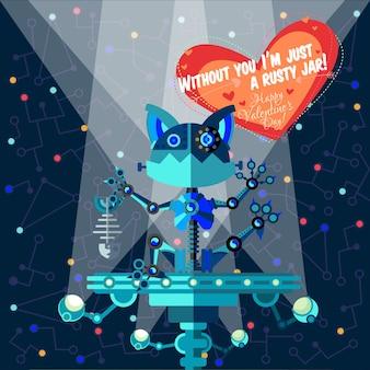 Ilustración de vector de estilo plano sobre robot. tarjeta de felicitación