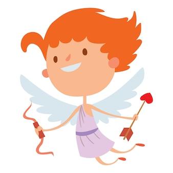 Ilustración de vector de estilo de san valentín cupido ángeles dibujos animados estilo