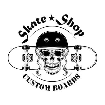 Ilustración de vector de etiqueta de tienda de skate. calavera en casco con patineta y texto