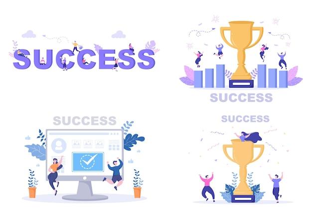 Ilustración de vector de éxito de alcanzar el objetivo