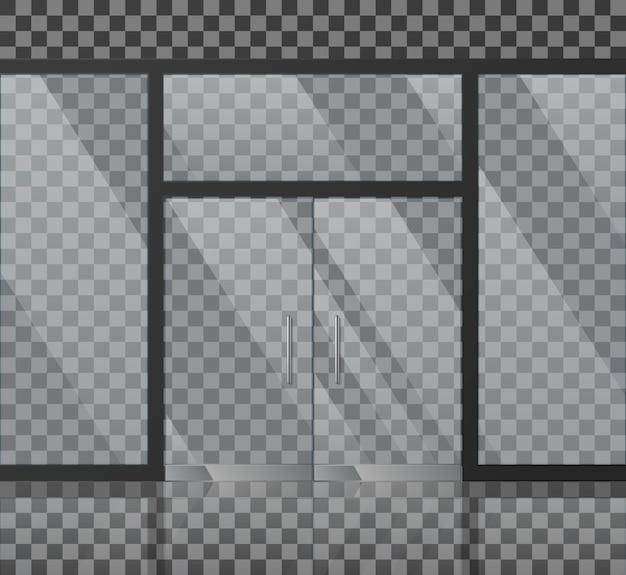Ilustración de vector de fachada de tienda de vidrio