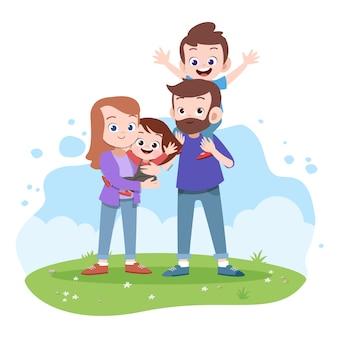Ilustración de vector de familia feliz