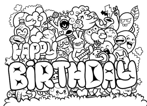 Ilustración de vector de feliz cumpleaños con doodle lindo monstruo dibujo a mano doodle