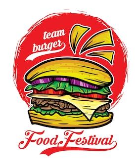 Ilustración de vector de festival de comida de hamburguesa de equipo