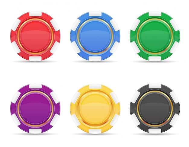 Ilustración de vector de fichas de casino de color