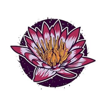 Ilustración de vector de flor de loto con círculo colorido aislado