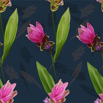 Ilustración de vector de flor de patrones sin fisuras siam tulip