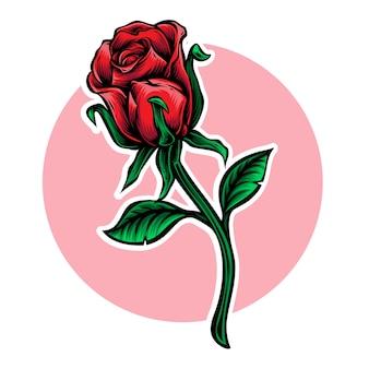 Ilustración de vector de flor de tallo rosa