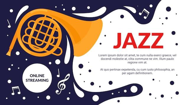Ilustración de vector de flyer de evento de festival de arte de música de jazz. anuncio de festival musical de dibujos animados, anuncio de promoción de espectáculo de fiesta con instrumento de trompeta vintage y fondo de cartel de melodía de notas