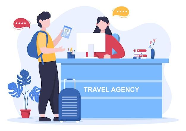 Ilustración de vector de fondo de agencia de viajes. las personas visitan los lugares emblemáticos de estas atracciones turísticas de fama mundial utilizando transporte en avión, automóvil o barco