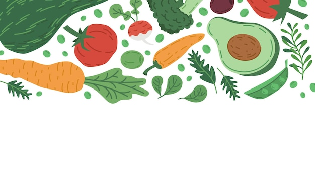 Ilustración de vector de fondo de alimentos orgánicos de verduras