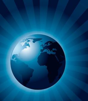 Ilustración de vector de fondo azul ecología realista de la tierra