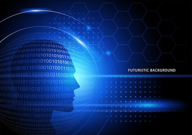Ilustración de vector de fondo azul futurista con cabeza humana y números binarios