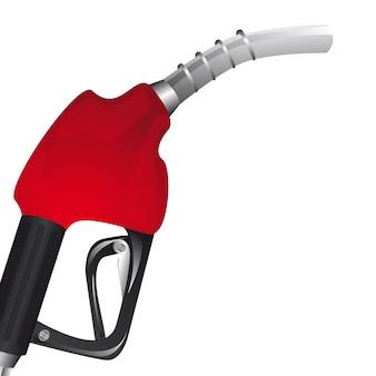 Ilustración de vector de fondo blanco pover bomba de gasolina roja