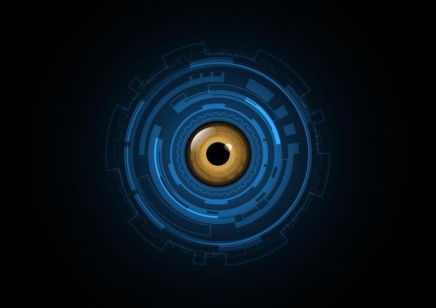 Ilustración de vector de fondo de círculo de ojo futuro abstracto de tecnología