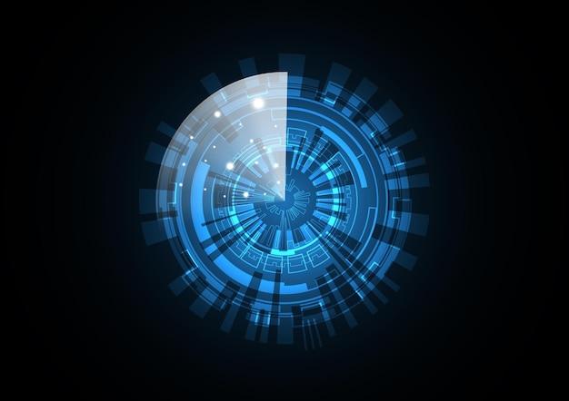 Ilustración de vector de fondo de círculo de seguridad de radar futuro abstracto de tecnología