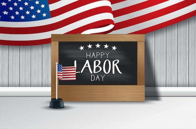 Ilustración de vector de fondo del día del trabajo de estados unidos con la bandera de estados unidos, tipografía de estados unidos de américa del día del trabajo