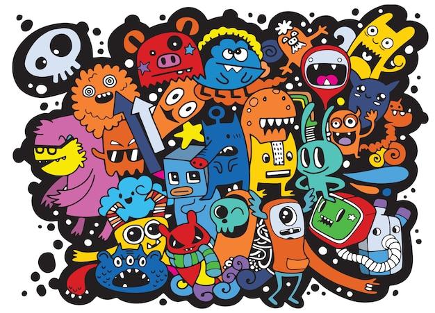 Ilustración de vector de fondo doodle lindo monstruo, sorteo de mano