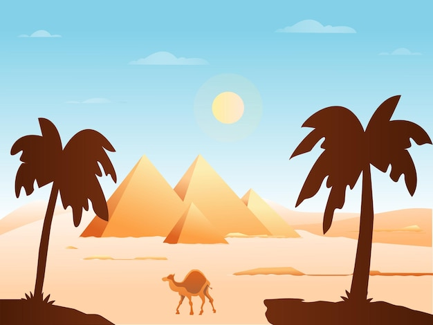 Ilustración de vector de fondo de egipto antiguo