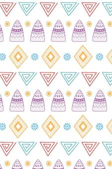 Ilustración de vector de fondo étnico hecho a mano, formas tribales flor ornamento