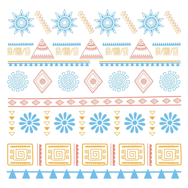 Ilustración de vector de fondo étnico hecho a mano, nativo vintage flor textil
