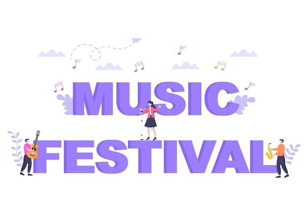 Ilustración de vector de fondo de festival de música con instrumentos musicales y actuación de canto en vivo para plantilla de póster, pancarta o folleto