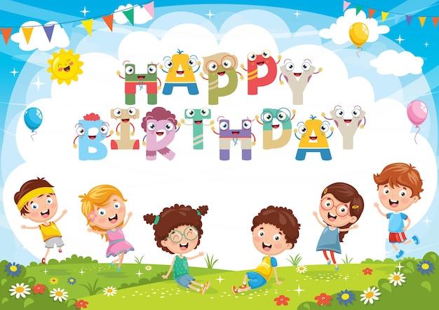 Ilustración del vector del fondo de la fiesta de cumpleaños de los niños