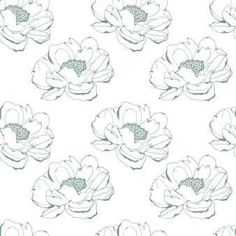 Ilustración de vector de fondo de flor suave color bosquejo dibujado patrón fondo
