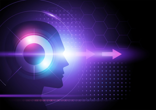 Ilustración de vector de fondo futurista púrpura con cabeza humana y flechas, concepto de visión
